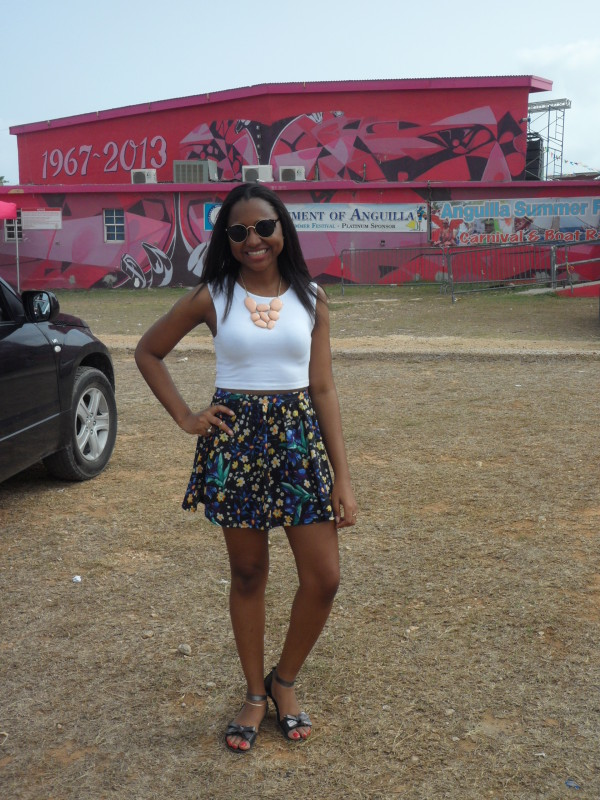 Sherise in front of the Landsome Bowl Cultural Centre located next to Fair, Anguilla
