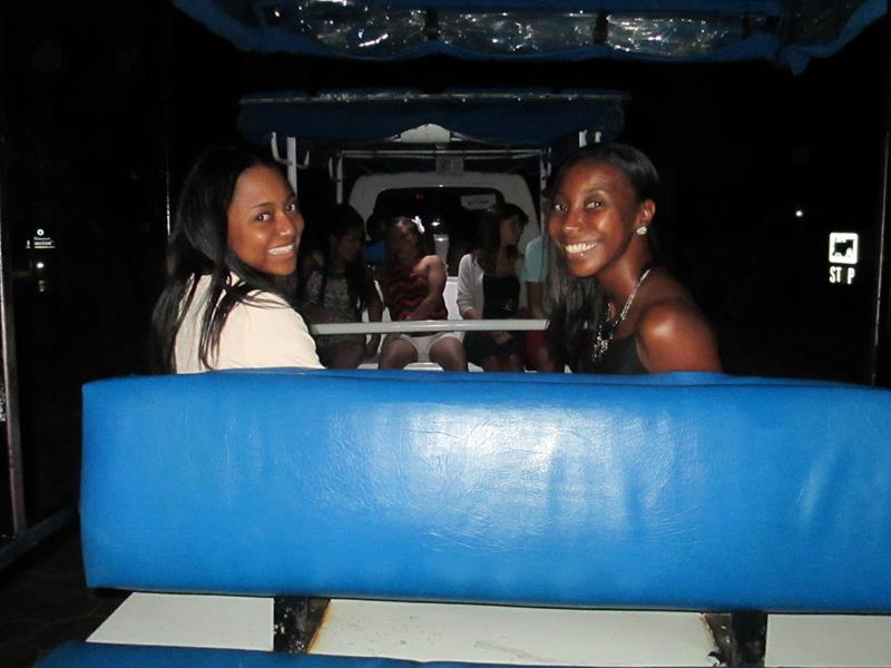 On the trolley at the resort