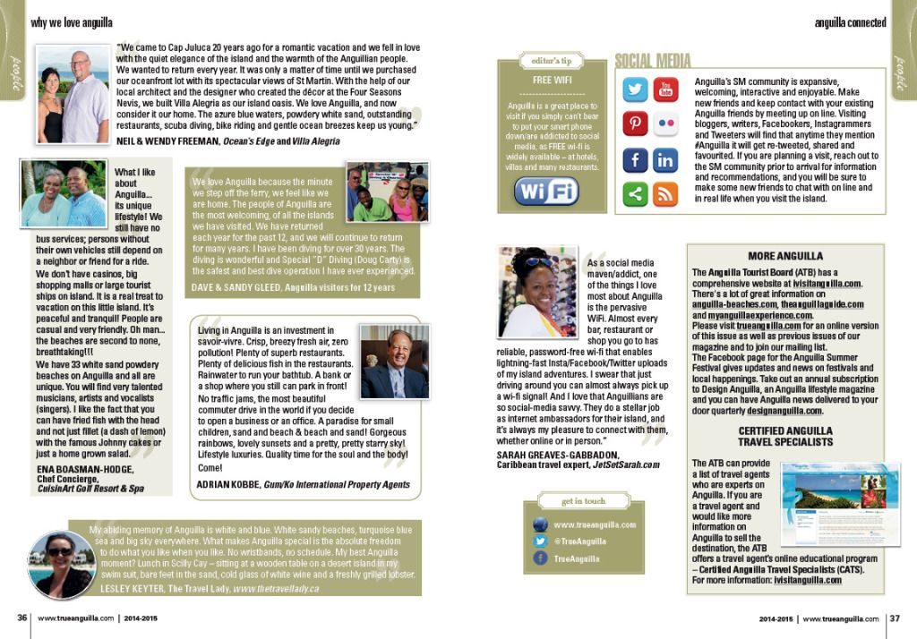 Mention of My Anguilla Experience in True Anguilla Magazine